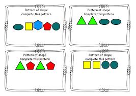 shape pattern year 2 year 2 shape 2d shape shape pattern sequence task cards