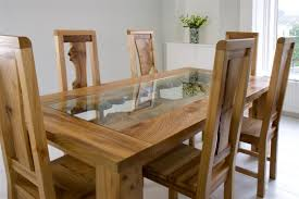Glass Top Dining Room Table And Chairs by Round Glass And Oak Dining Table Set Glass And Oak Round Dining