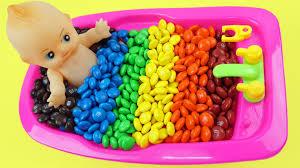 learn colors baby doll bath time with m u0026m u0027s chocolate ice cream