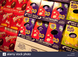 easter eggs sale chocolate easter eggs on sale in shop uk stock photo royalty