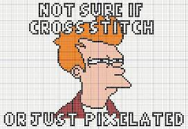 Fry Meme - buzy bobbins not sure if fry meme cross stitch design