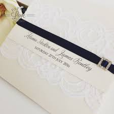 wedding invitations queensland paper invites pocket invitations with lace band navy