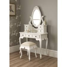 Contemporary Vanity Table White Wooden Make Up Table And White Wooden Stool Plus Grey Flower