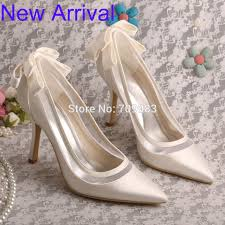 wedding shoes ivory wedopus stiletto heel pointed toe bow women pumps ivory bridal