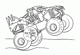monster jam truck zombie coloring page for kids transportation