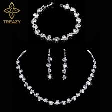 wedding necklace photos images Treazy crystal bridal jewelry sets silver color charm floral jpg