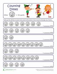 Counting By Tens Worksheets For Kindergarten Counting By Tens Dimes Worksheet Education Com