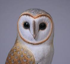 owl wood carving 10 inches barn owl carved wooden bird carving jj studio on