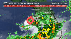 Orlando Weather Map by Tropical Storm Emily Forms Off Tampa Bay Tropical Storm Warnings