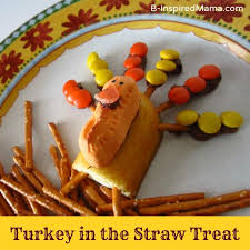 thanksgiving snack for turkey in the straw treats from b