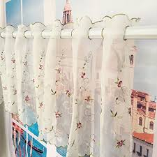Sheer Embroidered Curtains Embroidery Sheer Curtains Amazon Com