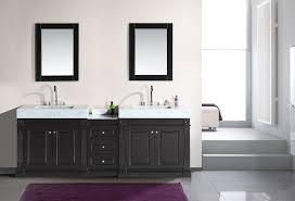 black wooden bath vanity trough sink and rectangular black wooden