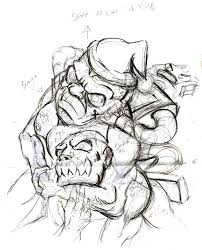the thumbnail sketch of a bully head lock to be the cover of my