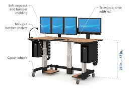 height adjustable desk workstation with accessories