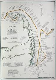 Map Of Cape Cod Massachusetts by Hand Colored Back Side Of Cape Cod Today 1930 And Yesterday 1620