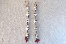 halloween earrings chain of skulls shoulder duster earrings