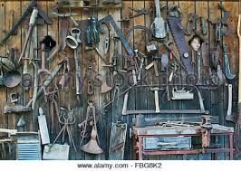 how to hang tools in shed old tools hang on wall stock photo 80281650 alamy
