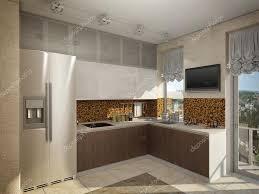cuisine facade verre illustration 3d de cuisine en bois et la façade en verre