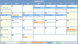 october 2017 printable calendar templates