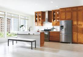 glass door kitchen cabinet simple l shape kitchen style with island with brown color birch