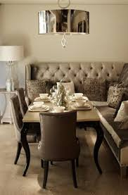 dining table with banquette bench designmeetstyle we love the gold on the underside of this pendant