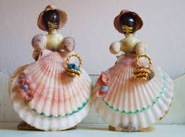 4389 best shell craft images on pinterest seashell crafts two vintage shell art ladies southern belle handmade of seashells