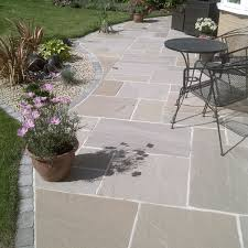 patio stone pavers pavestone paving riven sandstone raj blend mixed paving