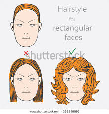 hairstyles for narrow faces face shape alternative hairstyles rectangular face stock vector