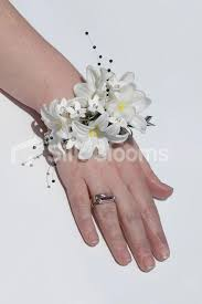 shop artificial white hyacinth wedding wrist corsage w crystals