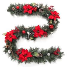 home accents holiday 9 ft twig pine red poinsettia garland with