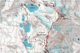 Sierra High Route Map by Conditions Between Lake Catherine And Banner Ritter Saddle