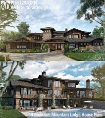 plan 31822dn four second floor balconies luxury houses plan 12943kn 4 bedroom mountain lodge house plan house