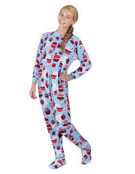 blue cupcakes footed pajamas pajamas one