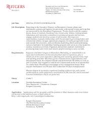 events coordinator cover letter gallery cover letter sample
