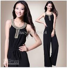 homecoming jumpsuits wholesale sale slim noble black jumpsuits with beaded