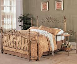 Iron Bed Set Beige Iron Carving Bed Frame With Headboard And Beige Bedding Set