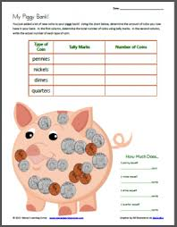 my piggy bank u2013 tally mark worksheet using coins tally marks