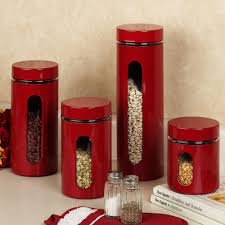 glossy and shinny red kitchen canister sets for kitchen