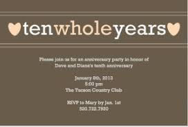 tenth wedding anniversary 10th anniversary invitations and anniversary invitation wording
