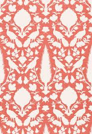schumacher chenonceaufolk art linen fabric coral
