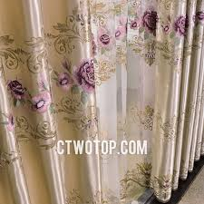Purple And Gold Shower Curtain Romantic Purple Flowers Patterned Simple Best Beautiful Curtains