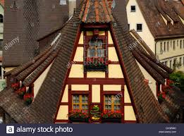 traditional half timbered house with dormer windows in rothenburg