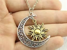 moon sun necklace unisex crescent moon sun necklace