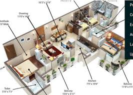 real estate builders contractors of 2bhk tower b 3d floor plan