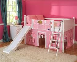 playhouse loft bed w slide by maxtrix kids pink white on white