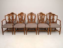 set of 10 antique mahogany shield back dining chairs 1930 to 1940