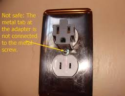 3 prong light socket adapter converting two prong outlets