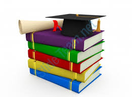 graduation books degree with graduation cap residing above books stock photo