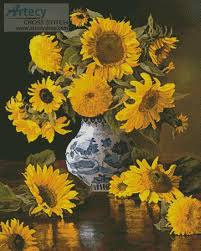 Vase Of Sunflowers Artecy Cross Stitch Sunflowers In A Blue And White Vase Cross