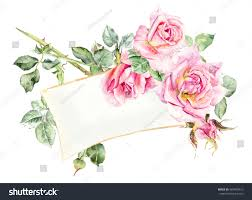 Color Painting by Frame Roses Wedding Drawings Water Color Stock Illustration